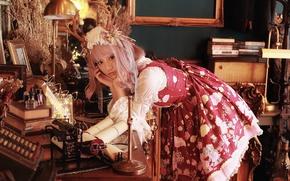 Картинка девушка, лицо, поза, стиль, комната, макияж, платье, азиатка