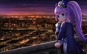 Картинка девушка, ночь, город
