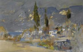 Картинка деревья, горы, импрессионизм, Константин Коровин, Крымский Пейзаж