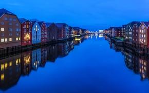 Картинка вода, огни, отражение, дома, вечер, Норвегия, канал, Trondheim