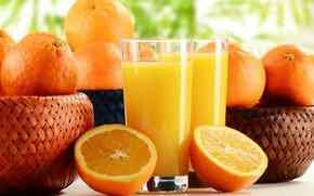 Картинка оранжевый, апельсины, сок, стаканы, фрукты, цитрусы, боке, корзины