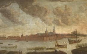 Картинка пейзаж, масло, картина, холст, Вид на Город Хойсден
