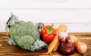 Картинка лук, перец, овощи, чеснок, брокколи