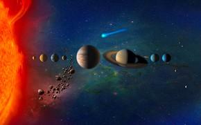 Обои Уран, Венера, Меркурий, Нептун, Юпитер, Солнечная Система, Planets in Solar System, Земля, комета, звёзды, Марс, ...
