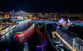 Обои exhibition, sydney, cityscape, сидней, vivid, lights, opera house, australia