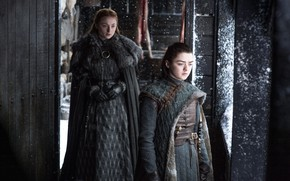 Картинка Game of Thrones, Winterfell, Arya Stark, Sansa Stark, Maisie Williams