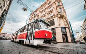 Картинка город, улица, здание, Чехия, трамвай, Czech Republic