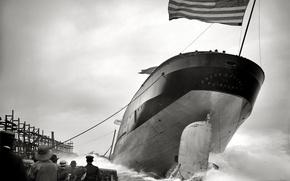 Картинка ретро, корабль, флаг, США, спуск на воду