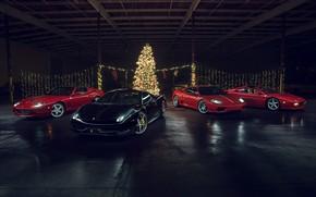 Картинка F430, Ferrari, Red, Christmas, Califonia, 458 Italia