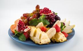 Картинка ягоды, апельсин, клубника, виноград, фрукты, ананас, банан, гранат