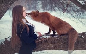 Обои девушка, дерево, ситуация, поцелуй, лиса, рыжая, длинные волосы, Сергей Граблёв