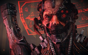 Картинка red, gun, monster, weapon, machine, man, face, assassin, evil, cyborg, head, Bombshell, hitokiri