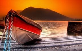 Картинка море, лодка, гора, причал, зарево