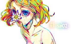 Картинка цветок, взгляд, стиль, аниме, арт, Vocaloid, Вокалоид, персонажи