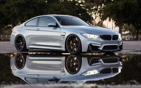 Картинка BMW, Water, Silver, Reflection, Puddle, F83