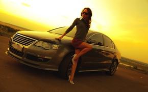 Картинка авто, взгляд, девушка, фон, Девушки, Volkswagen, очки