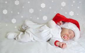 Картинка зима, счастье, тепло, спит, Новый год, колпак, младенец, костюмчик