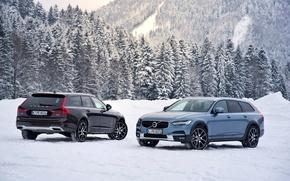 Картинка Зима, Volvo, Снег, Автомобили, V90, 2016-17, Cross Country Worldwide