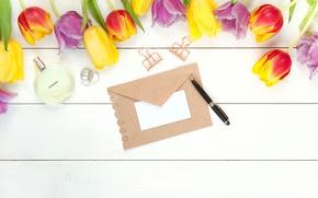Картинка письмо, цветы, весна, духи, colorful, ручка, тюльпаны, fresh, wood, flowers, beautiful, tulips, spring, bright