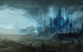 Обои город, завод, арт, мгла, ChrisCold