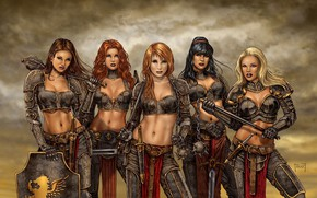 Обои red hair, shield, weapon, dagger, brunette, blonde, girl, redhead, red, warrior