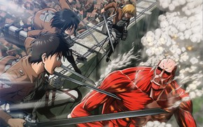 Картинка стена, дым, нападение, гигант, клинки, art, военная форма, Mikasa Ackerman, Eren Yeager, Атака Титанов, Armin …