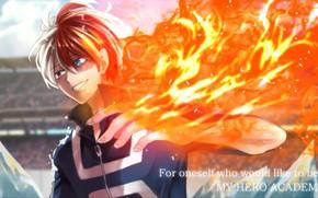 Картинка огонь, пламя, аниме, арт, парень, Boku no Hero Academia, Моя геройская академия
