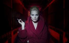 Обои девушка, сигарета, пальто, Terminal, Margot Robbie