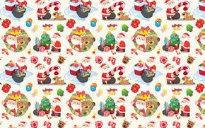 Обои Санта Клаус, Новый год, текстура, конфеты, арт, праздник, подарки, ёлочка