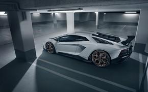 Картинка Lamborghini, парковка, суперкар, вид сбоку, 2018, Novitec Torado, Aventador S