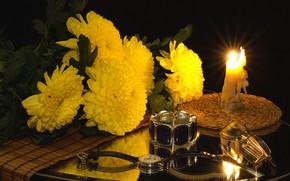 Обои часы, свечи, очки, цветы