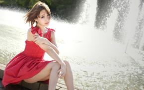 Картинка девушка, платье, фонтан, ножки