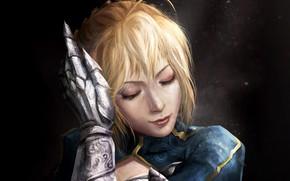 Картинка girl, anime, face, blonde, digital art, artwork, warrior, fantasy art, knight, Fate/Zero, glove, closed eyes, ...