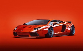 Картинка Lamborghini, Orange, LP700-4, Aventador, Liberty, Walk