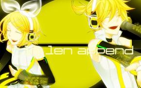 Картинка жёлтый, круг, двое, Vocaloid, Вокалоид, Кагомине Лен, Кагомине Рин