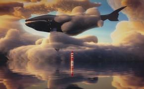 Картинка море, небо, маяк, фэнтези, кит, 3D-графика, by IkyuValiantValentine, Valiant Valentine, Dreamy Sky