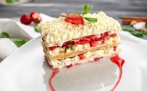 Картинка клубника, пирожное, крем, десерт