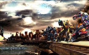 Картинка city, cinema, robot, sky, mecha, cloud, movie, Transformers, helicopter, film, hunter, Transformers 4, kumo