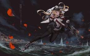 Картинка вода, девушка, оружие, лепестки, anime, art, Kantai Collection
