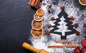 Картинка елка, апельсин, Новый Год, Рождество, корица, merry christmas, мука, decoration, xmas