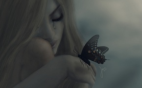 Обои девушка, настроение, бабочка, слезы, блондинка