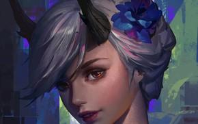 Картинка girl, fantasy, flower, horns, red eyes, short hair, artwork, fantasy art, Elf, painting art, flower …
