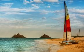 Картинка USA, beach, sky, sea, ocean, landscape, Hawaii, nature, water, clouds, sand, boat, islands, sailing, United …