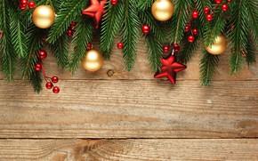 Картинка ягоды, елка, Новый Год, Рождество, happy, Christmas, balls, wood, New Year, Merry Christmas, Xmas, decoration, …