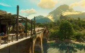 Картинка лес, мост, река, замок, the witcher 3 wild hunt