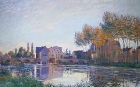 Картинка осень, деревья, пейзаж, мост, река, дома, картина, Alfred Sisley, Альфред Сислей, Море-сюр-Луэн. Закат