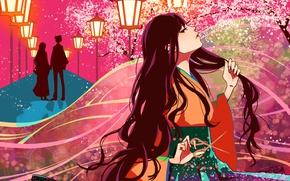 Картинка лепестки, сакура, силуэт, фонари, пара, кимоно, аллея, длинные волосы, ножницы