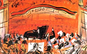 Картинка New York, 1946, Raoul Dufy Le, Collection Peter A. RБbel, The Red Concert, Concert Rouge