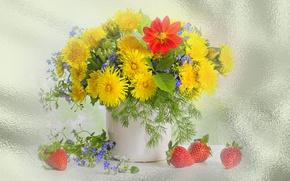 Обои весна, клубника, обои на рабочий стол, лето, одуванчики, натюрморт, цветы