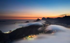 Картинка облака, огни, туман, сумерки, Бразилия, Рио-де-Жанейро, вид с горы Сахарная Голова
